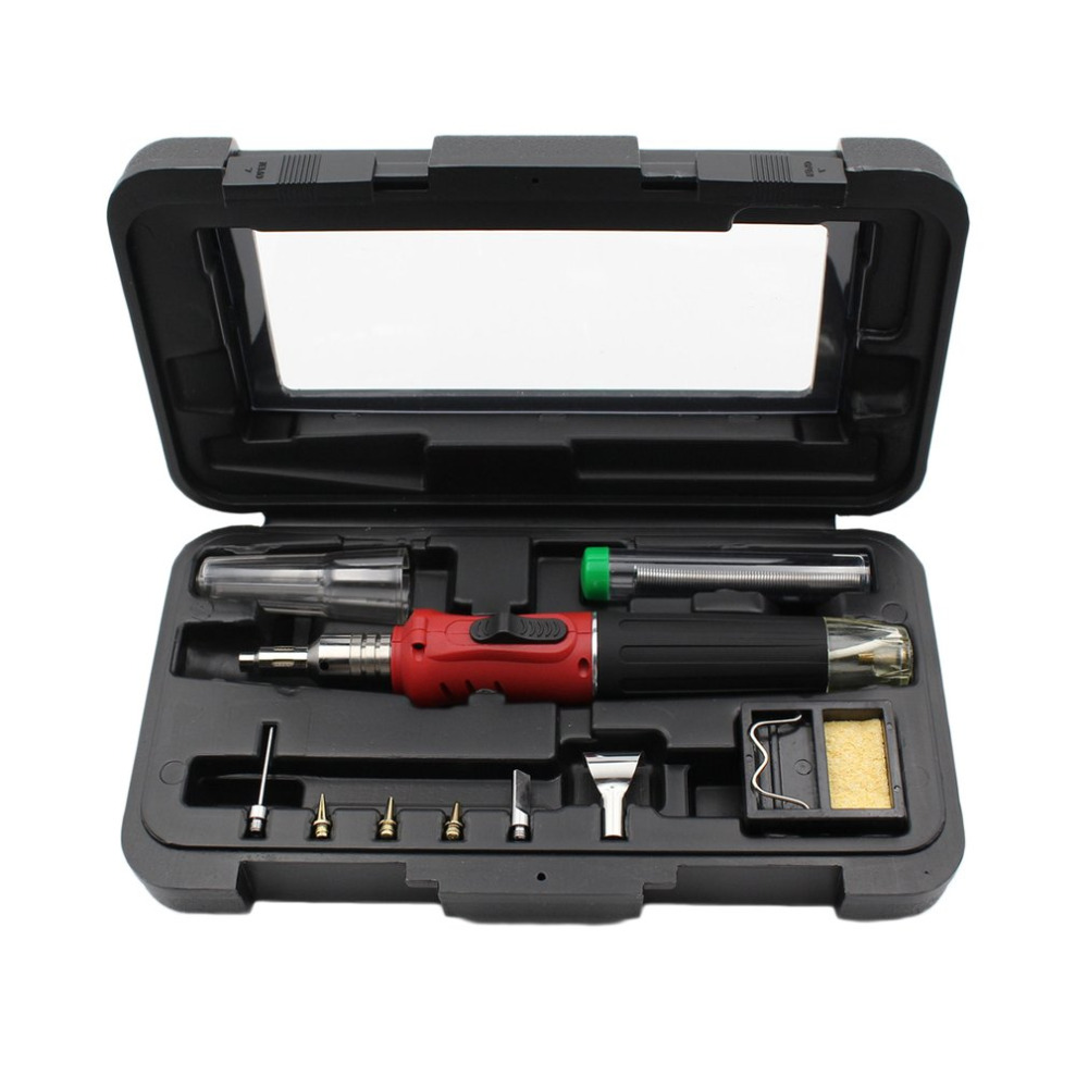 10 in 1 HS-1115K Electronic Ignition Gas Soldering Iron Kit Set Gas Blow Torch Solder Iron Gun Welding Pen Burner Tools HS-1115K 1 set 10 in 1 portable professional automatic ignition soldering iron set welding kit torch tool automatic ignition function