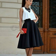 Cuerly New Fashion Women Stretch High Waist Plain Skater Flared Pleated Sexy Dress 2pcs Set Clothes Brand Ball Gown Dresses