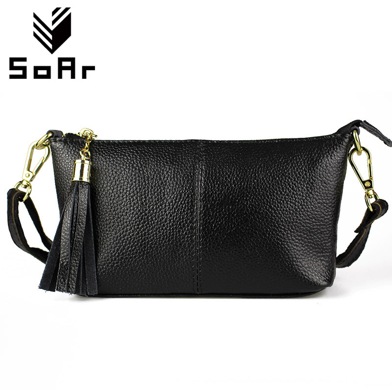 SoAr Women Messenger Bags Genuine Leather Cow Phone Clutch Bag Shoulder Bags Ladies Flap High Quality Fashion Purse Handbag 2018