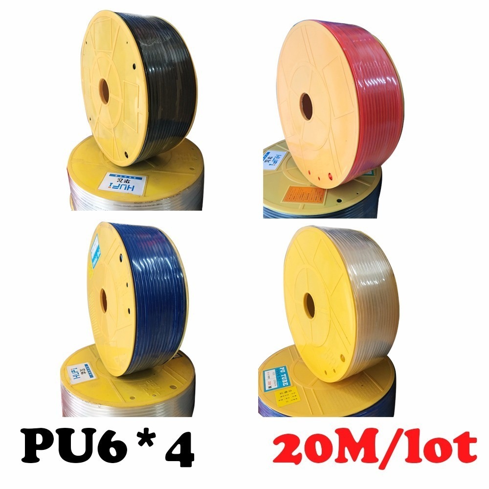 Free shipping PU Pipe 6*4mm 20M/lot Pneumatic air compressor hose for air & water  Pneumatic parts pneumatic hose ID 4mm OD 6mm industrial air compressor pu 6x4mm flexible pneumatic tube hose pipe black 4m long free shipping