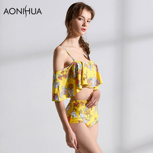 AONIHUA Womens Swimsuit Push Up Bikini High Cut Sexy Printing New Summer Beachwear Bathing Women Surf Swimwear