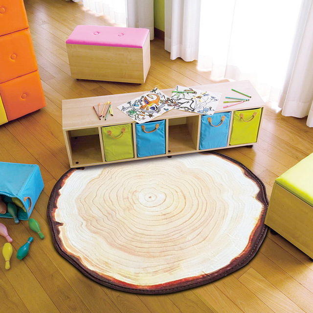 Antique Wood Tree Annual Ring Round Carpet For Bedroom Computer Chair Area Rugs Kids