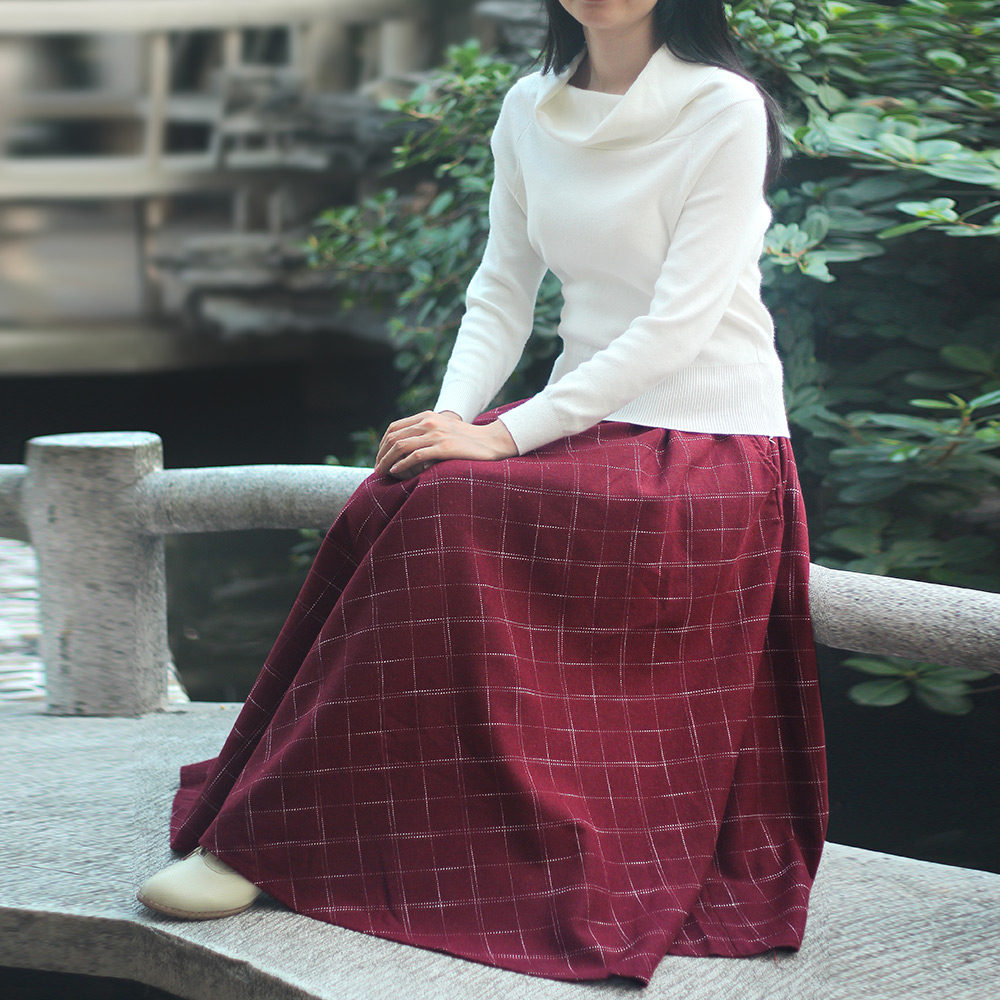 Free Shipping 2017 New Plaid Woolen Skirt For Women Autumn And Winter Vintage Elastic Waist Wine Red Long Maxi A-line Skirts