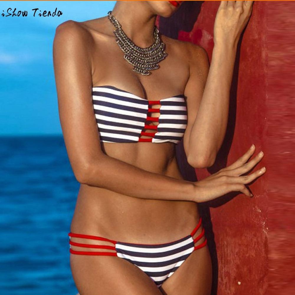 2017 Women Bather Swimwear Sexy Striped Bandeau Biquini for Women Swimsuit Push-Up Padded Bra Swimsuit Beachwear mayo