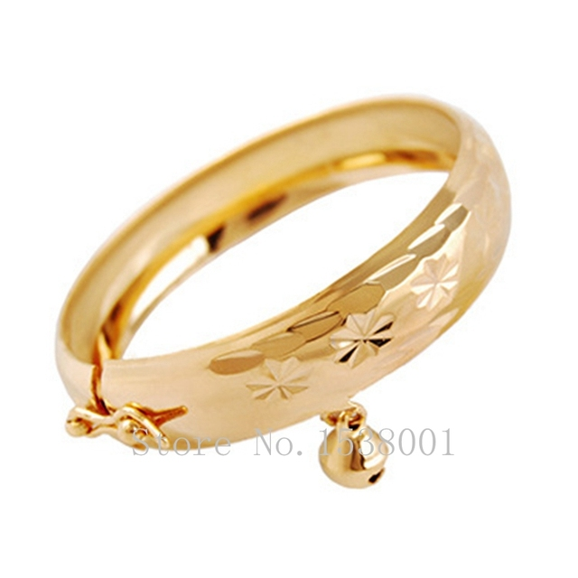 Carved Infant Bracelet  Yellow Gold Filled Openable Baby Bangle Best Choice for Kids 45mm