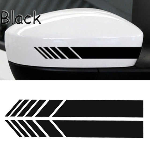 2 uds espejo retrovisor Stripe Sticker calcomanías Warn Safety fibra de carbono Auto 5D