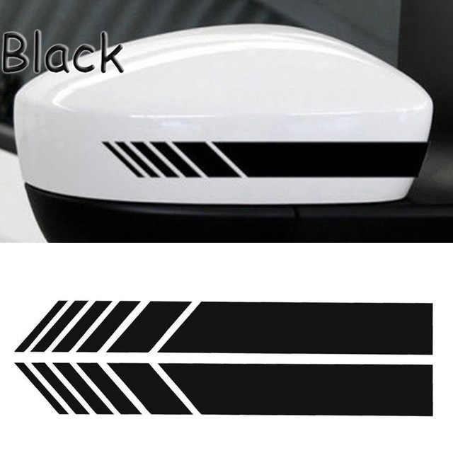 2 uds espejo retrovisor Stripe Sticker calcomanías Warn Safety fibra de carbono Auto 5D