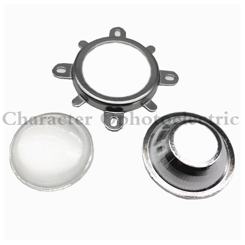 Купить с кэшбэком LED Lens Optical Glass 44mm 60 degree + 50mm Reflector Collimator + Fixed Bracket For 10W  20W 30W 50W 100W COB High Power Chip