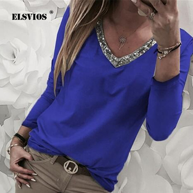 9c9acd65231b ELSVIOS Casual Blouse Women 2019 Spring Long Sleeve Sequined V-neck Shirt  Patchwork Basic Tops Streetwear Blusas Plus Size 5XL