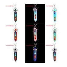 Men jewelry Natural Gem Set 7 Beads Hexagon Prism Point Reiki Pendulum Pendant Charms Healing Chakra Amulet Jewelry 14X Mix