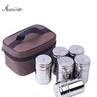Asipartan Jars For Spices Salt Shaker Sets For Spices Sugar Bowl Salt and Pepper Storage Cans 6pcs Jars + 1pc Storage Bag