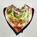 100% Silk Twill Silk Shawl Scarf Hot Sale Women Large Square Scarves Wraps Spring Light Green Leopard Pattern Silk Scarf 90*90cm