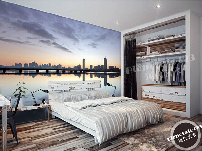 Custom Wallpaper Photo The Sky Under Boston City Skyline Landscape For Living Room Bedroom Background Wall Parede DE Papel
