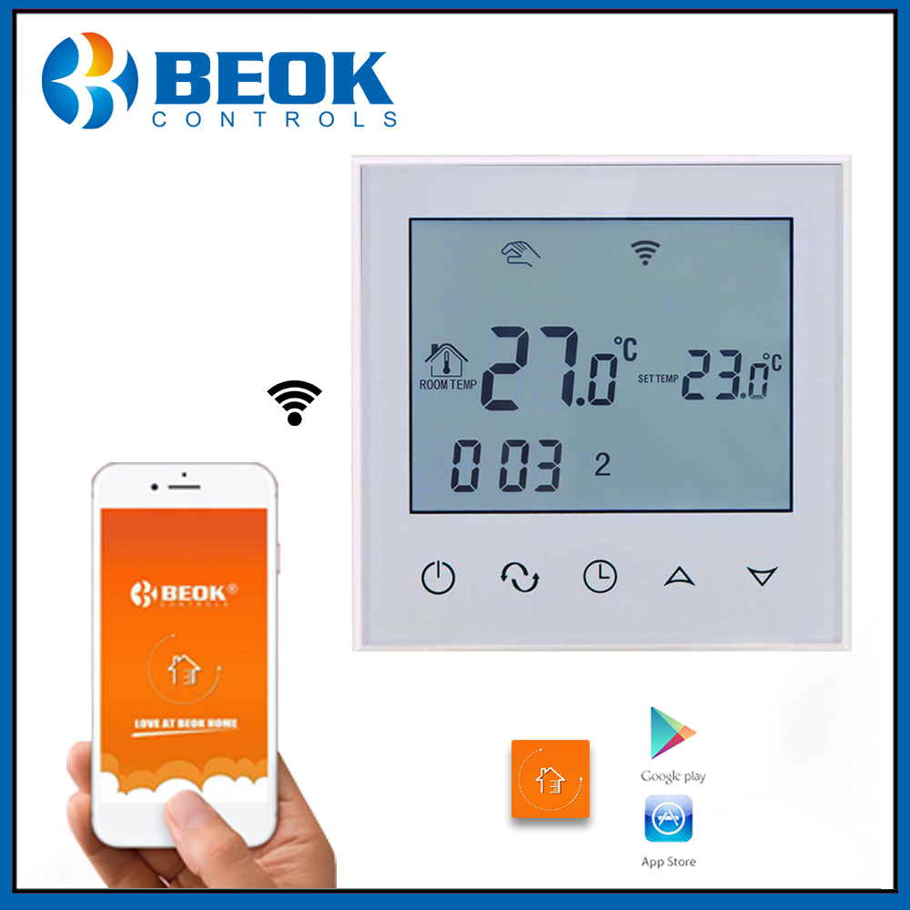 Beok TDS21WIFI-EP Wifi Function Thermostat White Back Light Smart Temperature Regulator