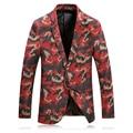 Мужской повседневный приталенный пиджак  модный красный блейзер с принтом  фланелевый пиджак с принтом  2019