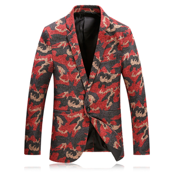 2019 Men's Casual Slim Fitted Suit Jackets Fashion High Quality Red Printing Blazer Men Flannel Printing Men Blazers