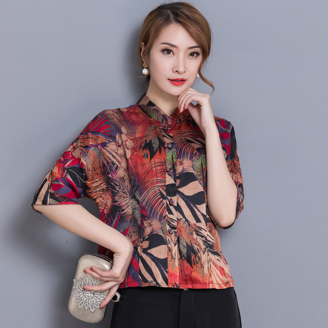 Stand Color Blouse Designs : Plus size new women shirts half sleeve stand neck chinese