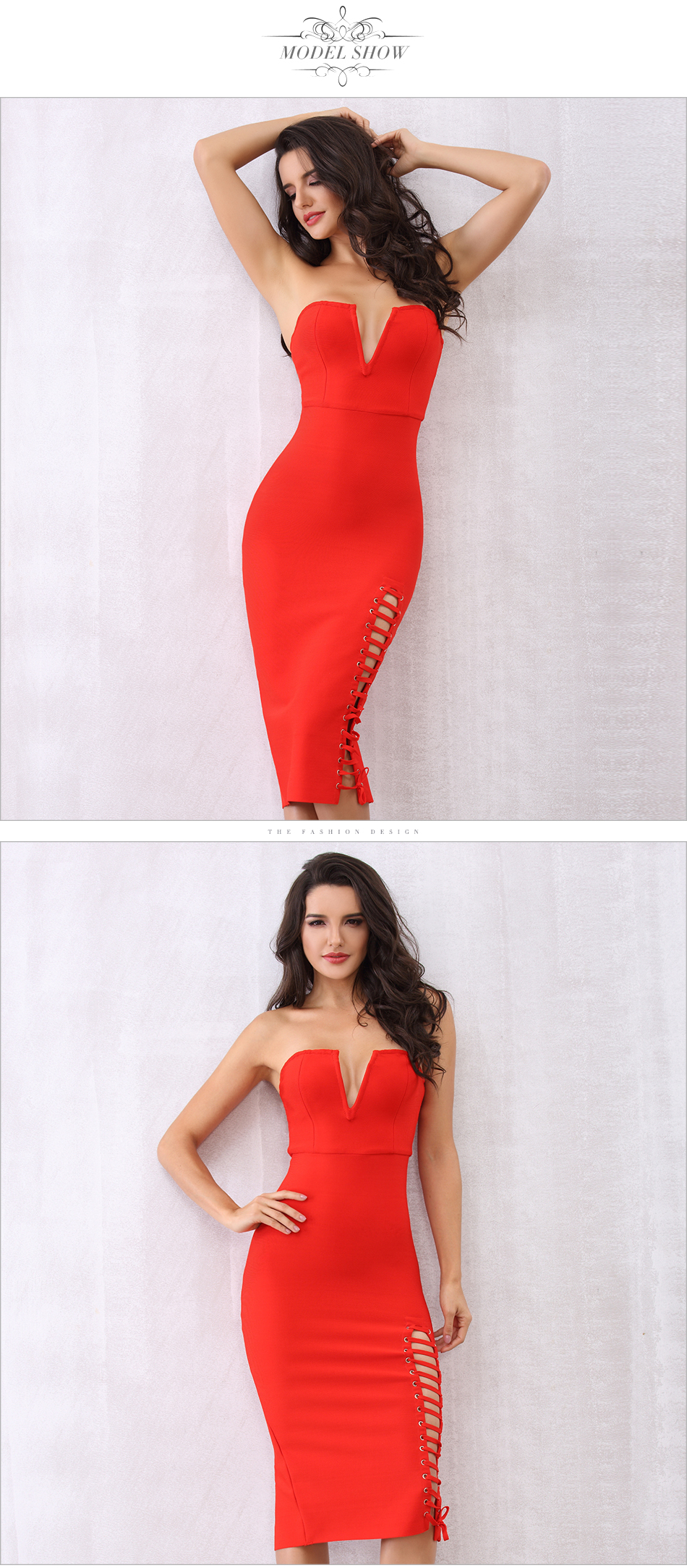 Black Red Strapless Side Lace Up Bodycon Bandage Dress