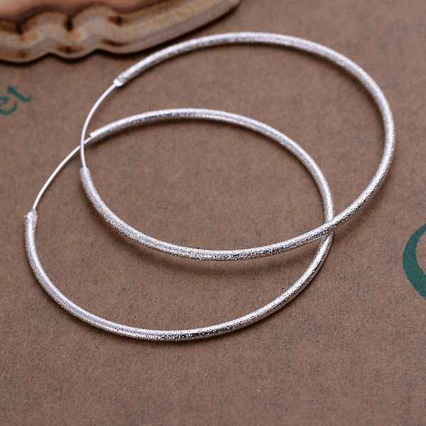 Free shipping wholesale for women's silver plated earrings 925 fashion Silver jewelry frosted circle hoop Earrings SE044