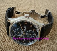 Butterfly Buckle PARNIS 43mm Black Dial Automatic Self Wind Movement Power Reserve Men S Watch Mechanical