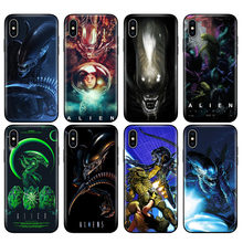 Zwart tpu case voor iphone 5 5s se 6 6s 7 8 plus x 10 case silicone cover voor iphone XR XS MAX case Xenomorph aliens predator(China)