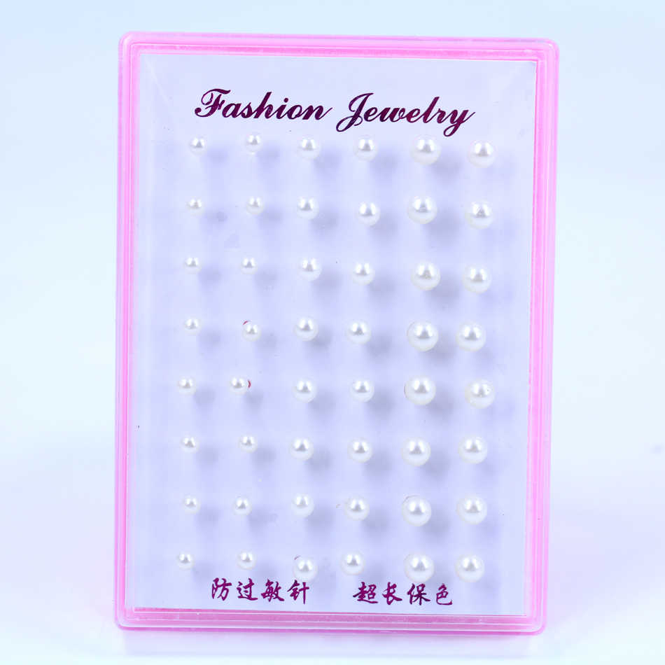 Factory Cheap 4mm 5mm 6mm Mixed Sizes Imitation Pearl Plastic Stick Stud Earrings 24pairs/plastic box Packing
