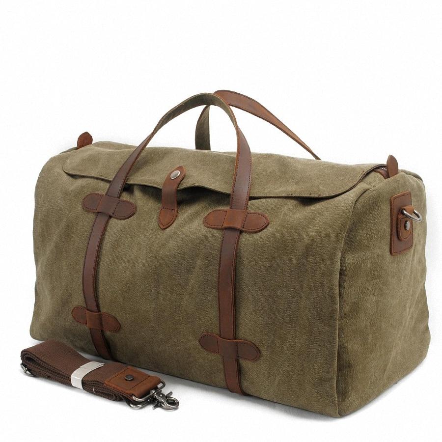 Perfect Men Women Retro Canvas Leather Shoulder Bag Overnight Duffle