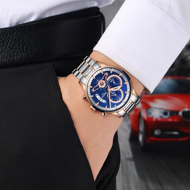 NIBOSI Rose Gold Mens Watches Top Brand Luxury Relogio Masculino Quartz Watch Men Clock Waterproof Sports Watch Erkek kol saati 5