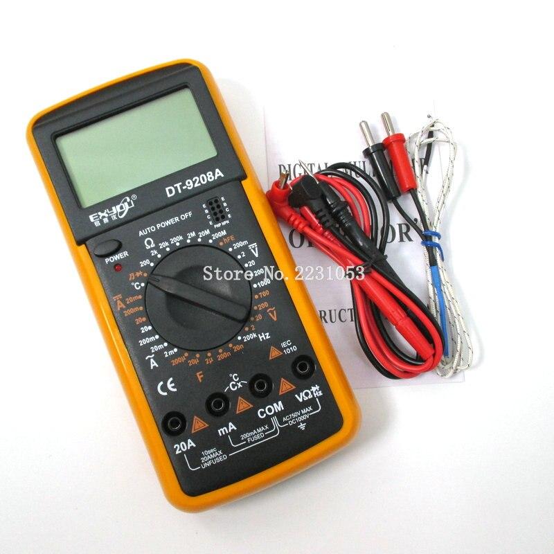 DT9208A Display LCD Palmare Professionale Voltmetro Amperometro Ohmmetro Capacità Tester di Temperatura Tester Multimetro Digitale