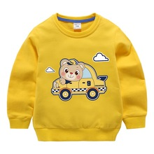 Baby T-shirts childrens clothes cotton spring tops boys girls bears car printed long-sleeved  2-8 years old