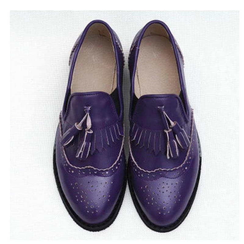 Genuine Leather Single Shoes Female Flat Bottom Student Shoes Brock Tassel Large Yard Oxford Shoes For