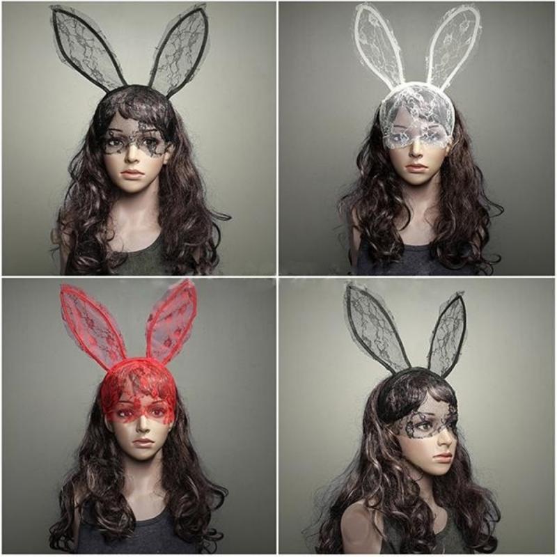 Fashion Women Girl Hairbands Lace Rabbit Bunny Ears Veil Black Eye Mask Halloween Party Headwear Hair Accessories