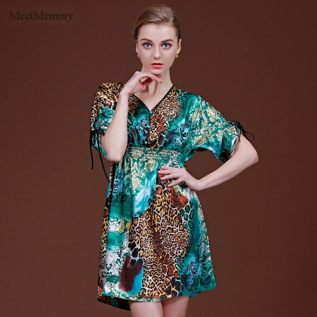 Leopard Sexy Silk Nightgown Sleepshirts Women Short-sleeves Sleepwear Lounge Casual Satin Silky Nightwear Female Dress
