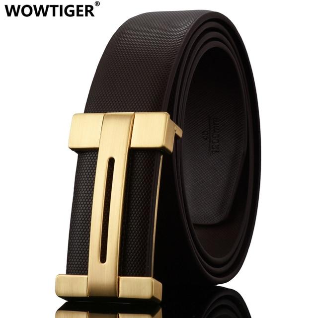 WOWTIGER NOUVEAU Lisse boucle hommes ceinture en cuir de Vachette mode de  luxe haute qualité alliage 35a43a14f22