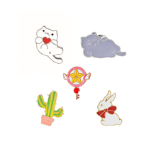 Fashion Cartoon Cute Cat Rabbit Cactus Brooch Pins For Men Women Hat Sweater Jacket Collar Bag Decoration Gift Anime Jewelry