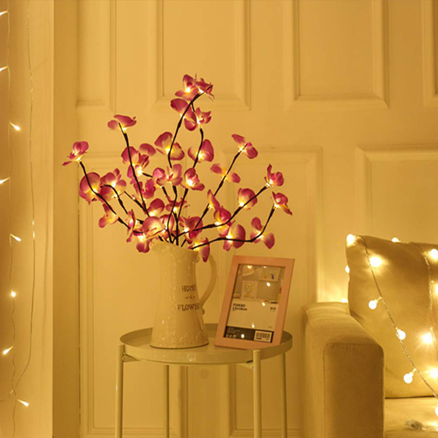 Battery Powered Led Branches Decorative Lights Moth Orchid Branch Light Tall Vase Filler Lighted Willow Twig For Home Decoration