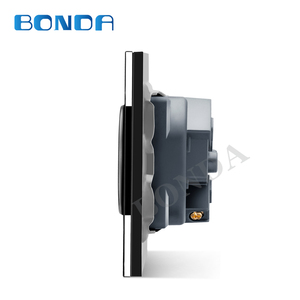 Image 4 - Bonda eu標準ホワイトブラックゴールドクリスタルガラスパネルac 110 250v 16A壁電源Socket16A 2100ma電気壁電源ソケット