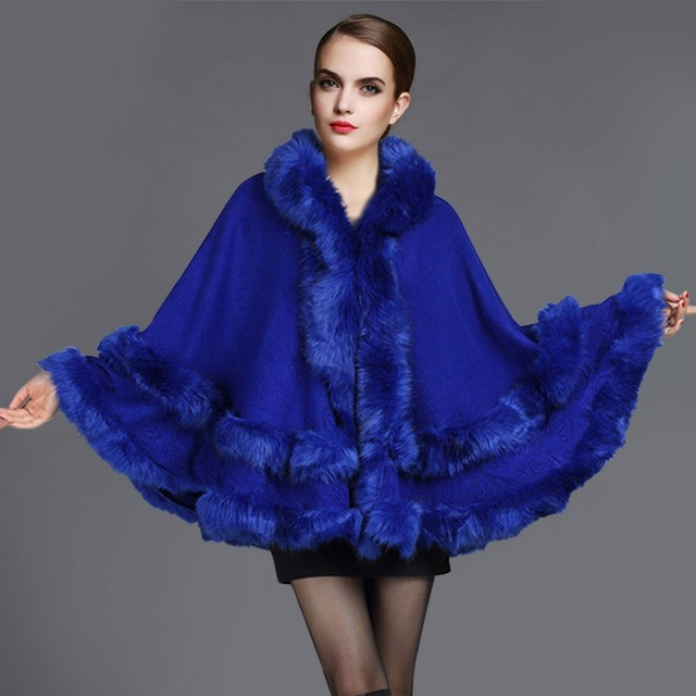 2016 весна осень высокое качество мода кашемир енот искусственного меха пончо пальто женщин длинный теплый платок плащ пиджаки кардиган W052