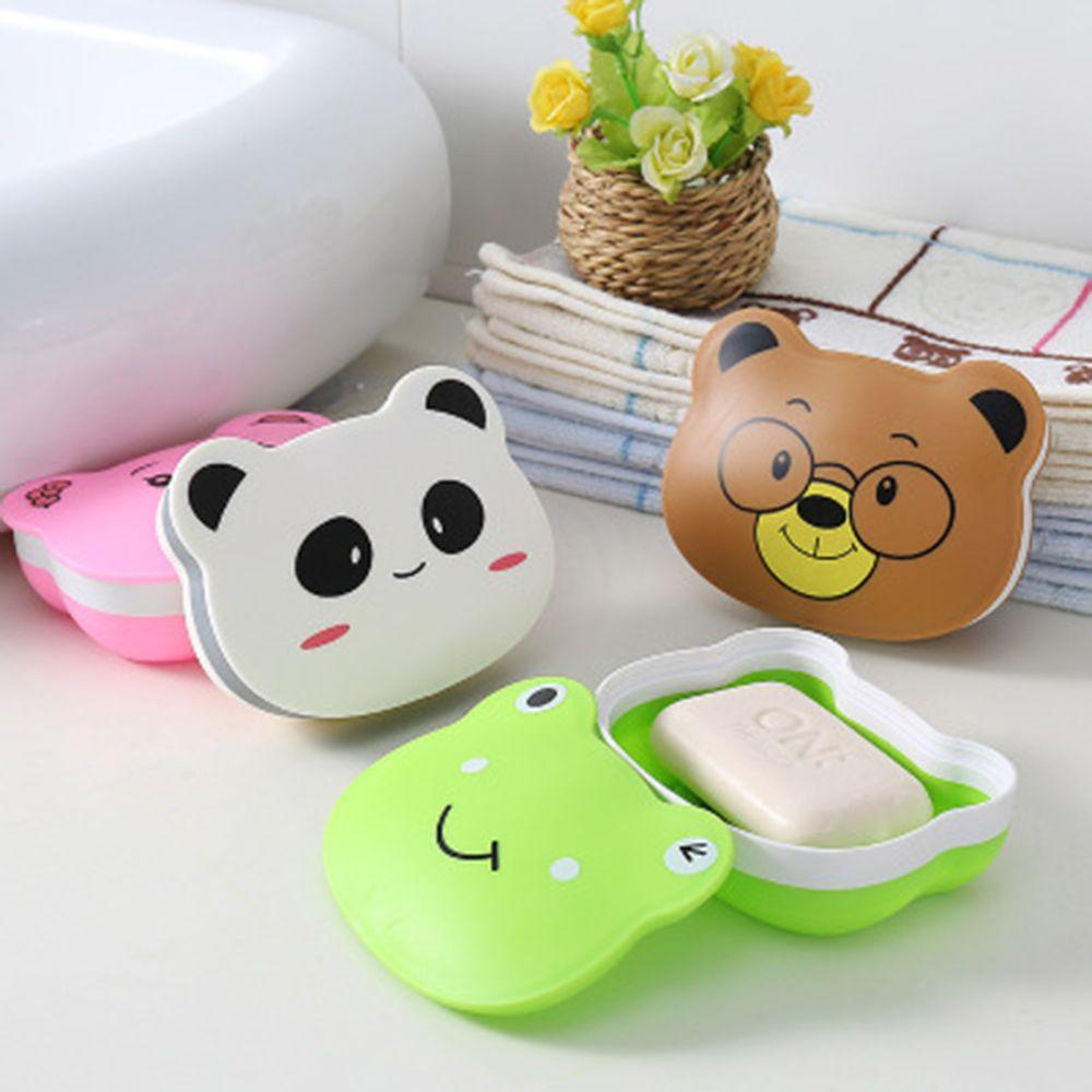1Pcs Cartoon Animal Portable Soap Box Soap Holder Travel Bathroom Soap Dish Jewelry Box Multi-Functional Household Storage