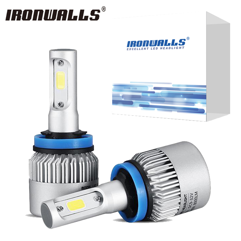 Ironwalls S2 H4 H7 H1 H11 H13 H3 9005 9006 HB4 Car LED Headlight Bulbs COB Hi-Lo Single Beam 72W 8000lm Auto Fog Light 6500K 12V h4 h7 h11 h1 h13 h3 9004 9005 9006 9007 9012 cob led car headlight bulb hi lo beam 72w 8000lm 6500k auto headlamp 12v 24v%2