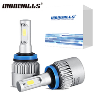 H7 H4 H11 H13 9005 9006 A Pair COB LED Auto Car Headlight Bulbs Front Fog