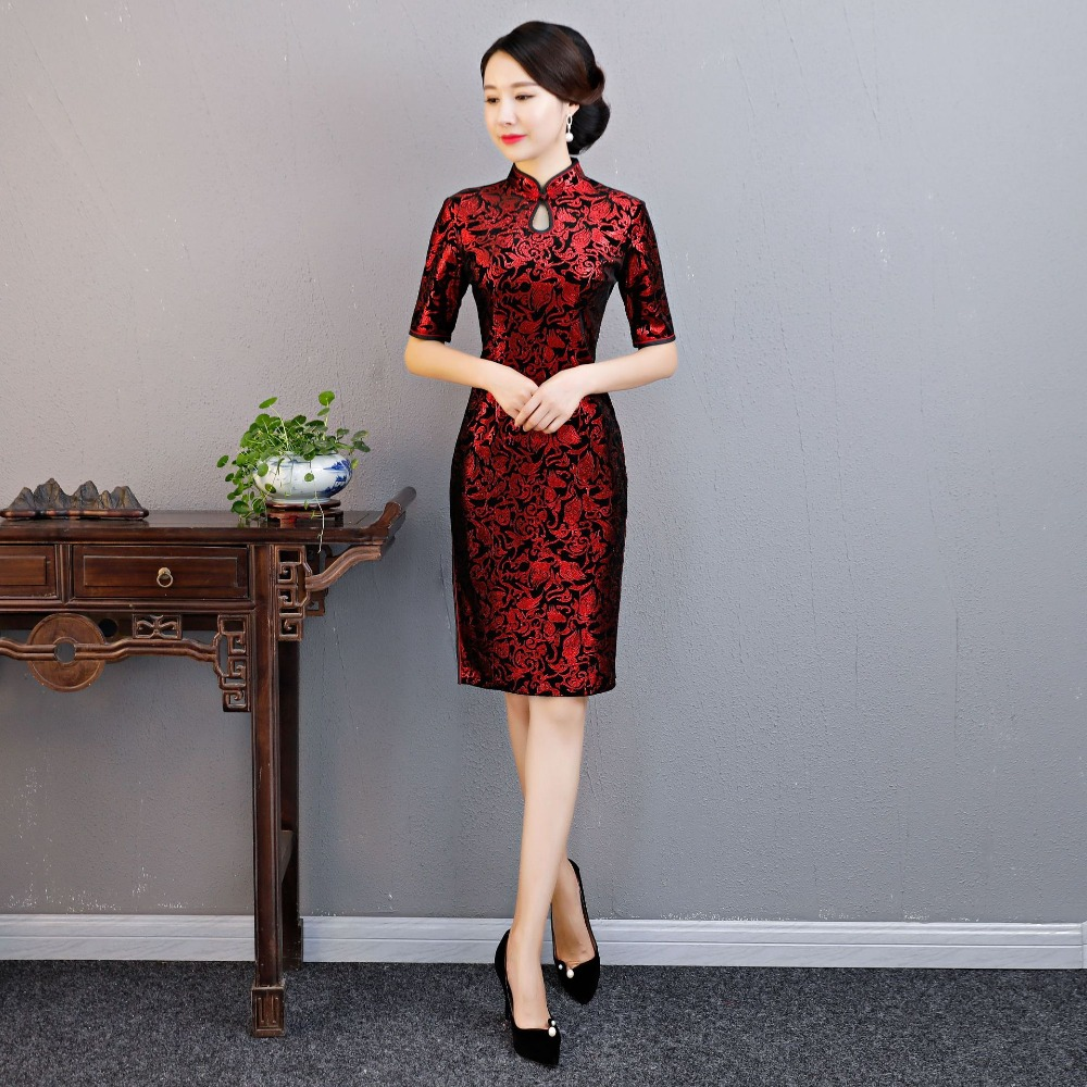 2019 autumn chinese traditional dress half sleeve red black warm cheongsam chinese wedding qipao dress for women vestido china