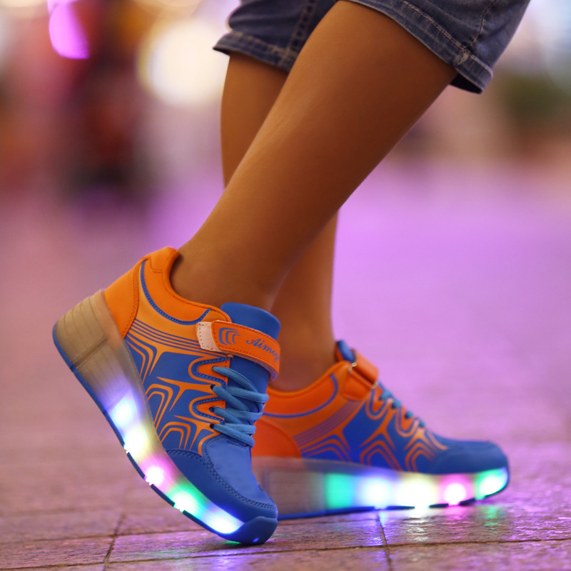 2016 Spring new arrival single wheel children increased sports led shoes Boys and girls shoes luminous