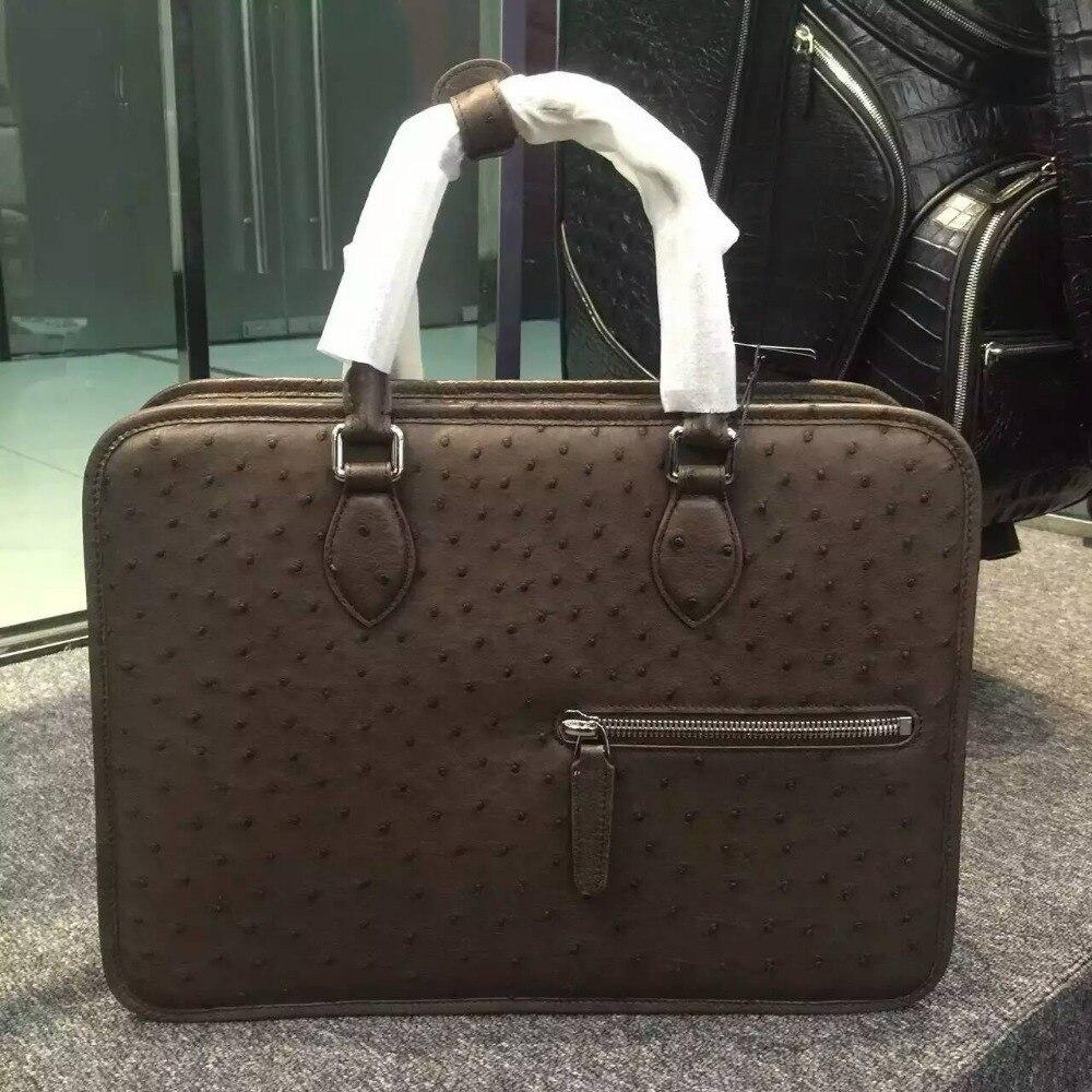 100% Vera pelle di struzzo valigetta in pelle da uomo di affari sacchetto del computer portatile, pelle di struzzo uomini ufficiale cartella borsa marrone e nero