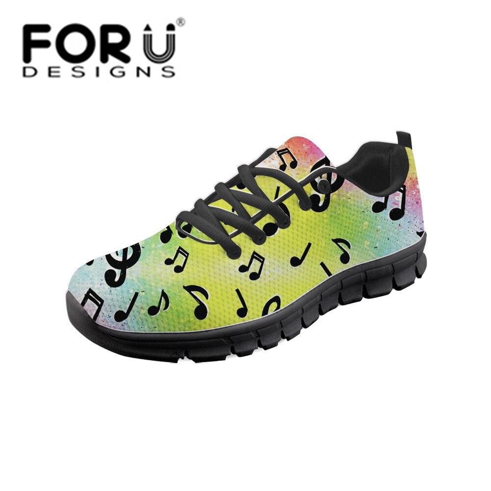 FORUDESIGNS femmes vulcaniser chaussures marque de luxe Tenis Feminino Sapato arc-en-ciel musique Note femmes formateurs chaussures décontractées respirantes