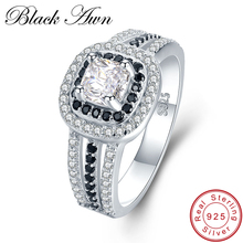 BLACK AWN 3 9g 925 Sterling Silver Jewelry Wedding Rings for Women Black White Stone