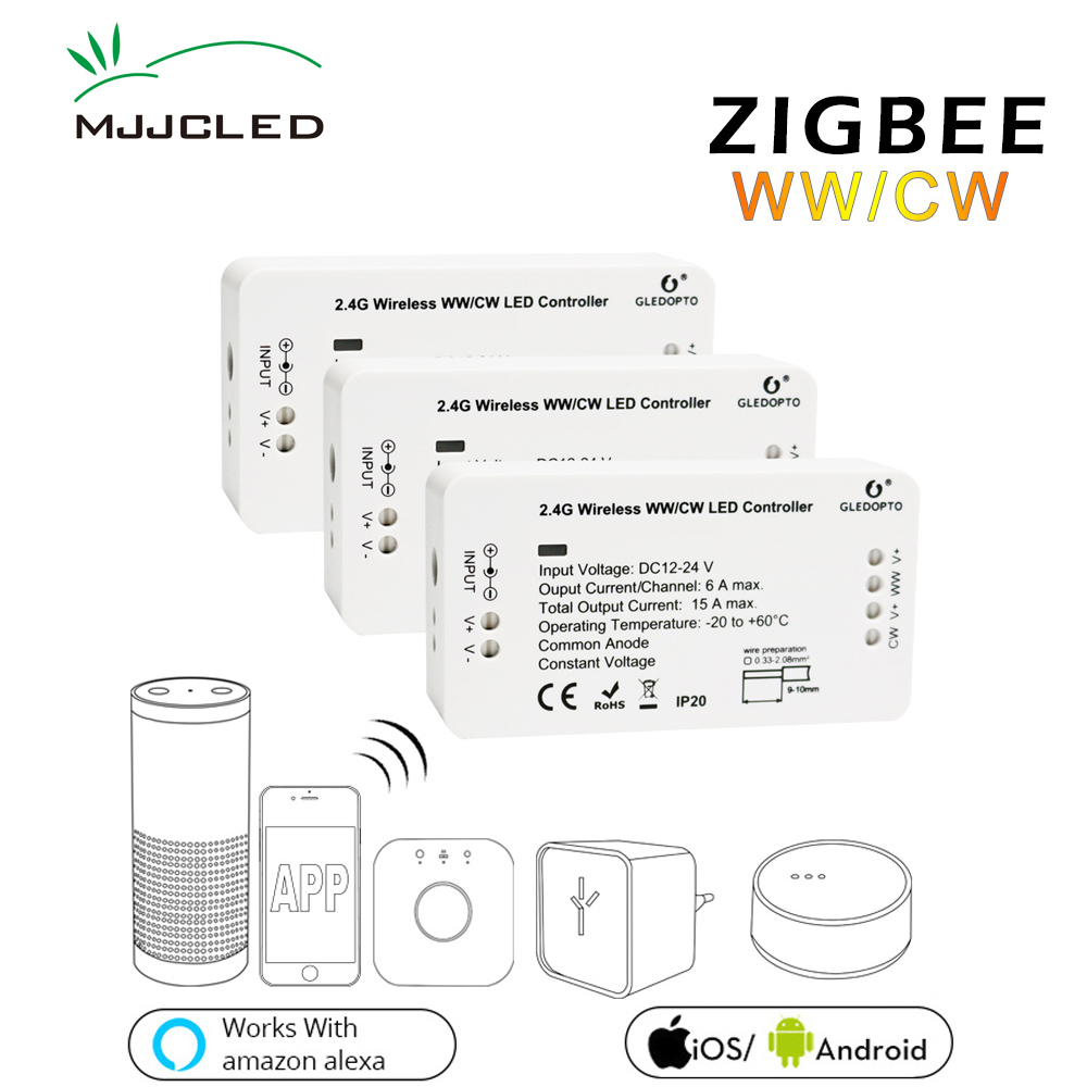 Zigbee Bridge LED Controller CW WW Dimmer Strip Controller DC 12V 24V Zll Standard App Controlled LED Zigbee LED Dimmer zigbee bridge led controller cw ww dimmer strip controller dc 12v 24v zll standard app controlled led zigbee led dimmer