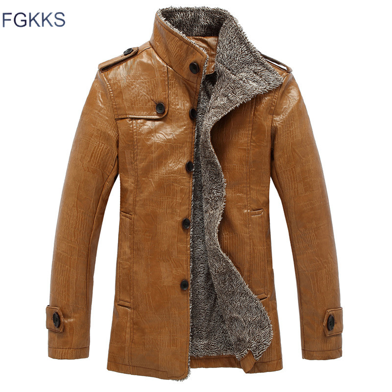 FGKKS Long Warm Leather Jacket Men Winter Windproof Male Casual Slim Fit Overcoat Mens Black Brown Cotton Padded Motorcycle