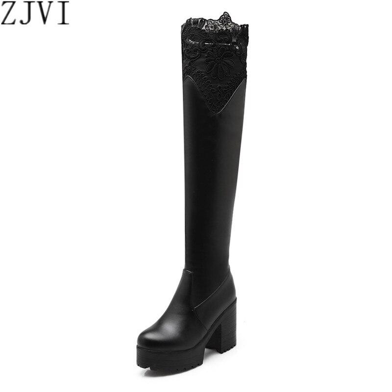 ZYZMNSYP bayanlar seksi dantel kış ayakkabı kadın diz üzerinde çizmeler kadın siyah kahverengi beyaz platformu ayakkabı uyluk yüksek topuklu çizmeler