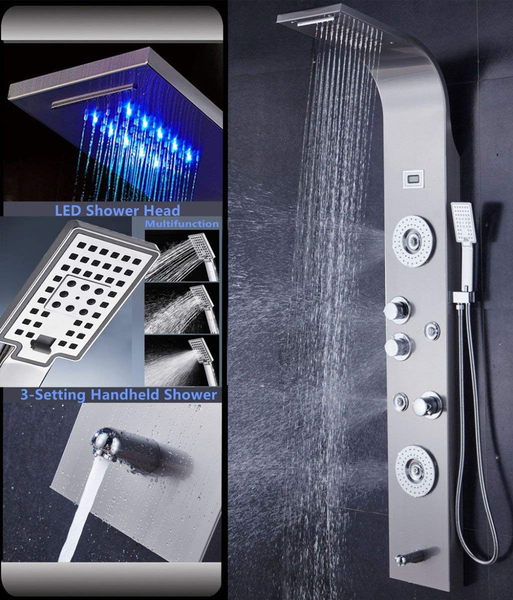 LED 6 Functions Nickel Brushed Waterfall Shower Panel Wall Mounted Bathroom Shower Faucet Shower Panel Column With Hand Sprayer